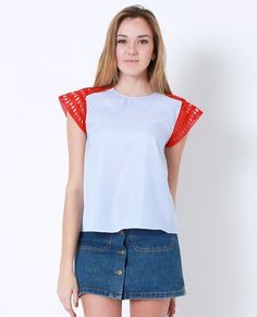 +Non-stretchy pinstripes and red crochet lace contrast floaty top
