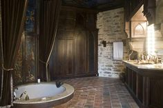Loving the tub and the big mirror! by rosalyn - gothic interior Limousin, Gothic Interior, Gothic Home Decor, Gothic Bathroom, Master Bathroom, Bathroom Interior, Modern Castle, Modern Victorian, Gothic House