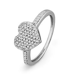 Sterling Silver Round Diamond Heart Ring (1/4 cttw)