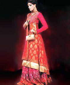 D3579 New Orange Red Anarkali Dresses, Buy Colorful Anarkali Pishwas Online, Latest Colorful Anarkali 2011 Special Offer