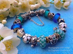 Turquoise, blue and white