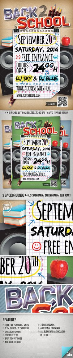Back To School Party Flyer Template | Party Flyer, Flyer Template