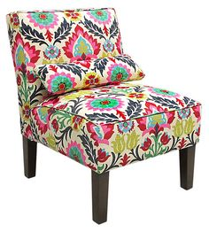 Style of the chair & the print are fabulous.  One Kings Lane - Stock Up for the Season - Bergman Armless Chair, Fuchsia/Multi