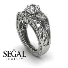 Der Art-Deco-Chor-Diamantring – Skyler No. Floral Engagement Ring, Unique Diamond Engagement Rings, Classic Engagement Rings, Gold Diamond Wedding Band, Morganite Engagement, Diamond Rings, Sapphire Rings, Wedding Ring, Chor