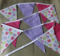 Fabric Banner - Fabric Bunting - Conversation Hearts Valentine's Day  by monkeyandlamb on Etsy