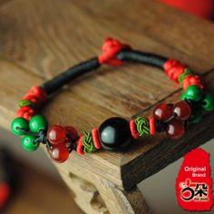 Folk Style Women`s Hand Knitted Agate Multicolor String Bracelet