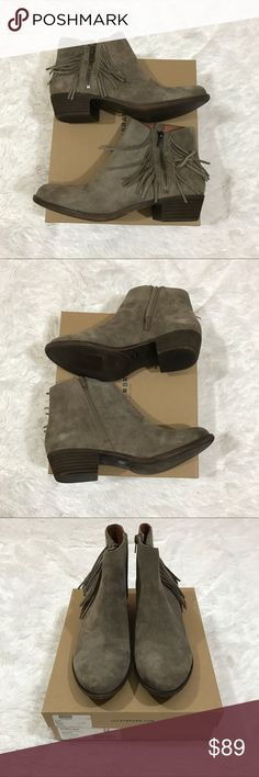 """NIB Lucky Brand Beeliner Booties, Sz 10* read This pair of NIB New Lucky Brand Beeliner Suede Leather Ankle Booties have adorable fringe detail and a size zipper with a low heel. Info was taken from website, Lucky Brand boots tend to run small so please check sizing beforehand. Retails for $109 Size Info Runs small; order next size up. Western-inspired fringe trim highlights the decorative zipper of a casual-chic suede bootie. •1 1/2"""" heel (size 8.5). •4 1/2"""" boot shaft. •Side zip…"""
