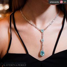 #Reposting from @jckevents | Thank you thank you thank you! ====== @jckevents:I @katerina_perez am in love with #paraiba #tourmalines. Here is my favourite #jewel with this magnificent Brazilian stone - a diamond and paraiba IT #necklace by @grazielagems beautifully captured by #SimonMartner @martner for #katerinaperezcom  #jcktakeover #luxurybyjck #katerinaxluxurybyjck #jcklasvegas #diamondnecklace #finejewellery #highjewellery #grazielagems
