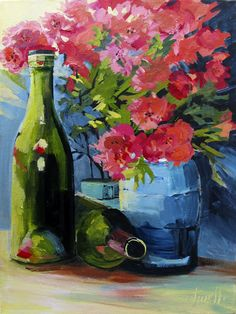 Penny Otwell ~ From the studio: Still life wine and foothill mountains. Flowers! I've done about 2 flower paintings in my whole life and I enjoyed it. I'm still a mountain painter, so I'll get back to them this week! It was a fun exercise and an excuse to go a little wild with color.