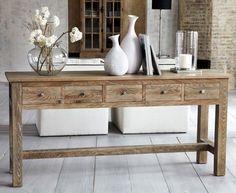 lange und schmale helle holz konsole tisch mit schubladen. Black Bedroom Furniture Sets. Home Design Ideas