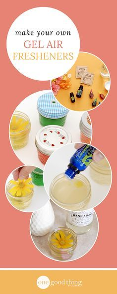 Make your own custom-scented DIY gel air fresheners to match your home's decor! A great alternative to scented candles!