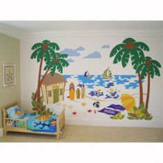 Beach Decor Product | Beach Scene Paint by Numbers Wall Mural for Kids | Elephants on the ...
