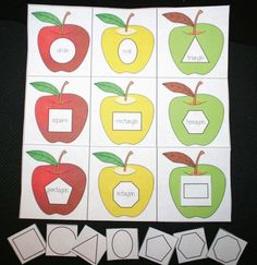 FREE Apple Shape Matching Game.  Includes a blank set of apples to program with whatever.