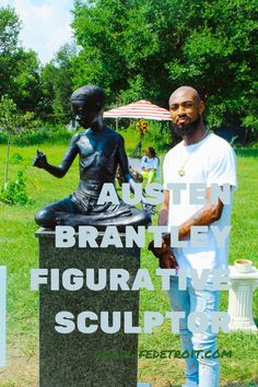 """Detroit artist and figurative sculptor Austen Brantley created a beautiful art piece for the new East Canfield Village Art Park. The artwork takes a look at Black masculinity through a different lens. Click the pin image to read more about """"Boy Holds Flower!"""" 