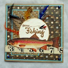 card male masculine fishing sport salmon fishing gear #fish fishes great catch card