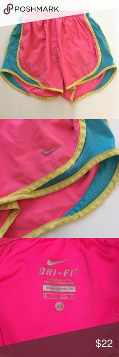 Nike  Dri-fit Shorts Nike shorts size XS w/ Drawstring fit w Underwear Lining, pink + blue + yellow, Excellent condition!! Nike Shorts