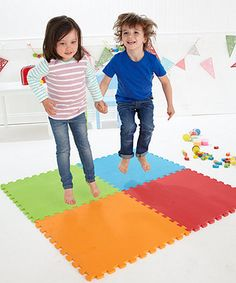 Four interlocking foam mats. Good for gymnastics, active games, jumping and rolling outdoors or in. Garden Games, Toys Shop, Early Learning, Cool Kids, Gymnastics, Kids Rugs, Activities, Fun, Floor Mats