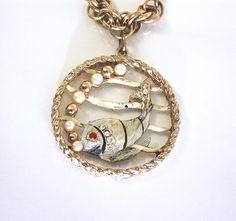 Fish Charm Bracelet  Large Vintage Enamel by LoriLakeTreasures