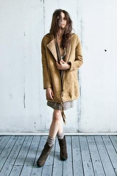 Friso Shearling Coat With Zipper - Can be worn inside-out - Humanoid