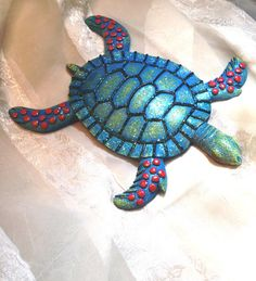 Vintage Wall Decor Glittery Sea Turtle Beach Art from NorthCoastCottage Jewelry Design & Vintage Treasures on Etsy.com, 29.00.