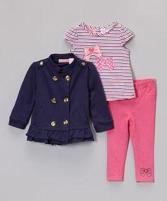 Navy & Pink Peacoat Set - Infant