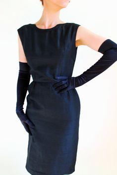 Sale  Vintage 1950s Silk Wiggle Dress Little Black by gogovintage, $85.00
