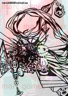 la huida : tinta sobre papel + photoshop | hhrt