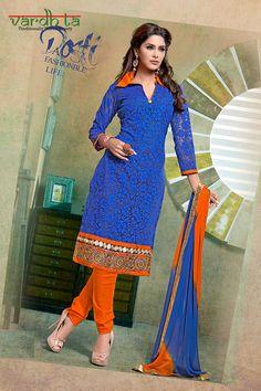 d400eb0a36 Blue color straight cut suit on cotton brasso fabric, this suit has resham  thread zari