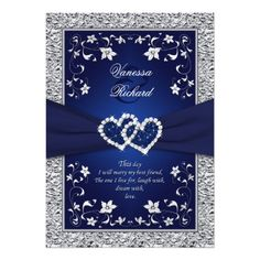 Elegant Wedding Invitation featuring a Royal Navy Blue Background with Silver Diamond Floral Hearts in a FAUX Foil look.