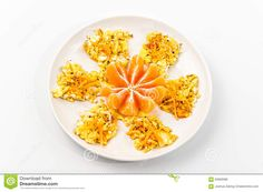 Scrambled Eggs And Orange Shaped Like Flower Top View - Download From Over 45 Million High Quality Stock Photos, Images, Vectors. Sign up for FREE today. Image: 63969086