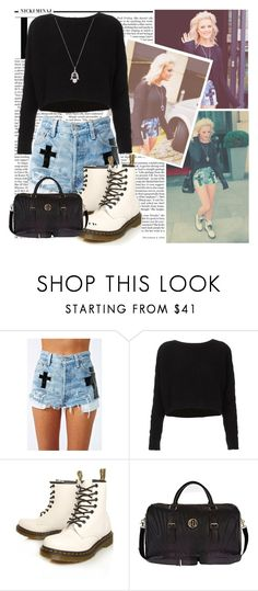 """""""perrie"""" by puckiiloveyou ❤ liked on Polyvore featuring Nicki Minaj, Topshop, Dr. Martens, River Island and London Road"""