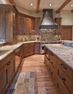 A spacious marble kitchen with an island. Lots of counter space!