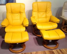 Mayfair & Kensington recliners in Classic Mustard. Available at Scanhome Furnishings in Green Bay.