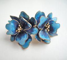 Vintage Sterling Enamel Flower Earrings.