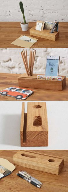 Bamboo Wooden Office Desk Organizer  Supplies Stationary Organizer Pen Pencil Holder Stand iPhone Smart Phone Holder Dock  Business Card Display Stand Holder