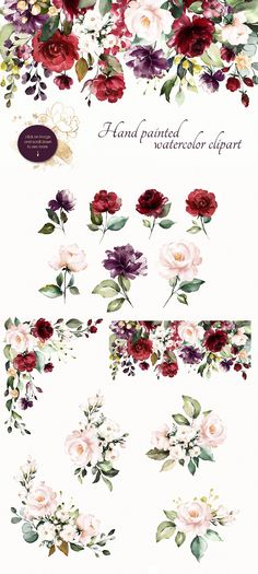 Watercolor floral set – Golden Kiss by Lisima on Creative Market - Modern Watercolor Rose, Watercolor Background, Watercolor Illustration, Graphic Illustration, Digital Illustration, Watercolor Painting, Emblem, Floral Illustrations, Floral Flowers