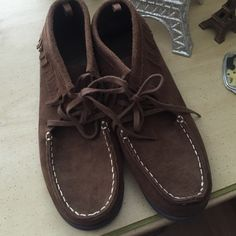 American Eagle moccasins NWOT never worn brown suede booties size 7 tie in with fringe very cute American Eagle Outfitters Shoes Moccasins