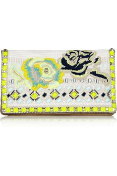 Matthew Williamson|Embroidered jacquard and suede clutch|NET-A-PORTER.COM