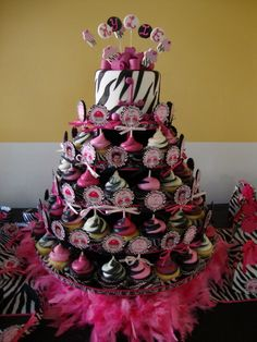Birthday and Party Cakes: Zebra Striped Birthday Cakes
