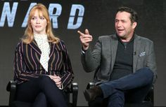 (L-R) Actors Christina Hendricks and James Purefoy speak onstage during the Sundance TV's Hap and Leonard panel as part of the AMC Networks portion of This is Cable 2016 Television Critics Association Winter Tour at Langham Hotel on January 8, 2016 in Pasadena, California.