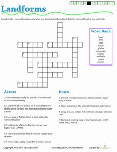 Earth Science Crossword: Landforms Worksheet. Great activity for homework or extra practice to get familiar with the definitions of the landforms. This helps the students apply their knowledge in an independent way!