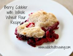 Berry Cobbler with Whole Wheat Flour Recipe on www.addictedtosaving.com