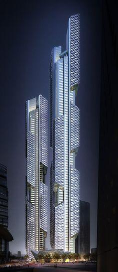 Tanzendes Drachenpaar von Adrian Smith + Gordon Gill Architecture in Seoul