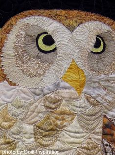 "close up, ""Nite Owl"" by Sharon Hightower (California). 2014 Pacific International Quilt Festival, photo by Quilt Inspiration"
