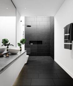 Black Tile Bathrooms, Modern Bathroom Tile, Bathroom Interior Design, Bathroom Flooring, Small Bathroom, Grey Floor Tiles Bathroom, Bathroom Feature Wall Tile, Modern Bathroom Furniture, Black Kitchen Floor Tiles