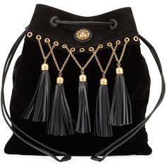 Miu Miu Velvet Tassel Chain Hobo Bag (24,290 MXN) ❤ liked on Polyvore featuring bags, handbags, shoulder bags, accessories, black, handbags hobo bags, drawstring purse, handbags shoulder bags, drawstring handbags and handbag purse