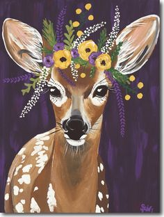 Spring Whitaker, Delia, the Deer Spring Painting, Spring Art, Spring Drawing, Painting Inspiration, Art Inspo, Art Buddha, Deer Art, Animal Paintings, Acrylic Painting Animals