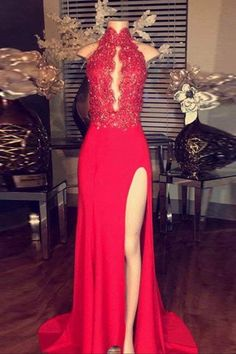 Red chiffon lace halter long slit dress,evening dress for prom