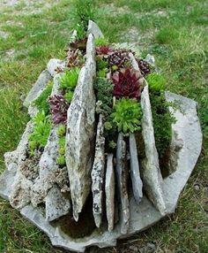 Natural rock planter