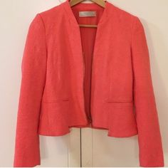 Coral Zara Jacquard Jacket Perfect condition. Worn twice. Size M. Zip up. No Paypal. No trades. No offers will be considered unless you use the make me an offer feature.     Please follow  Instagram: BossyJoc3y  Blog: www.bossyjocey.blogspot.com  Twitter: RealBossyJocey Zara Jackets & Coats